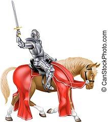 chevalier, cheval, épée moyen age