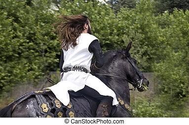chevalier, cheval, sien, moyen-âge, galoper