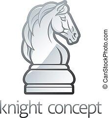 chevalier, concept, morceau échecs