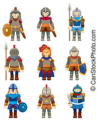chevalier, dessin animé, icône
