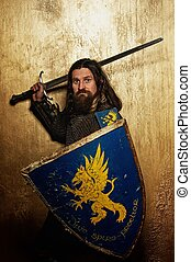 chevalier, doré, moyen-âge, arrière-plan.
