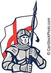 chevalier, drapeau, retro, britannique