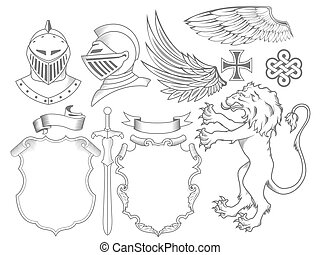 chevalier, héraldique, ensemble, éléments