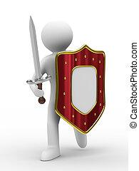 chevalier, image, isolé, arrière-plan., épée, blanc, 3d