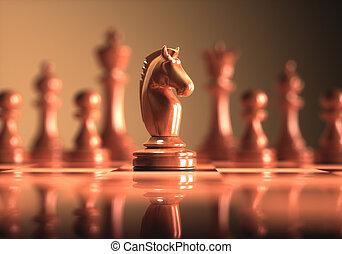 chevalier, jeu, échecs abordent