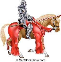 chevalier, joute, cheval, moyen-âge