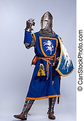 chevalier, moyen-âge, gris, arrière-plan.