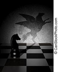 chevalier, ombre, pégase, art, noir