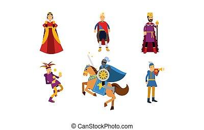 chevalier, prince, moyen-âge, farceur, illustration, dessin animé, vecteur, reine, ensemble, caractères, cheval, héraut, roi