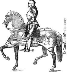 chevalier, sur, a, cheval, vendange, gravure