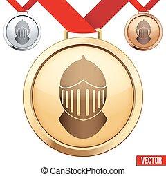 chevalier, symbole, médaille, intérieur, or