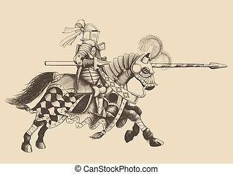 chevalier, tournoi, cheval