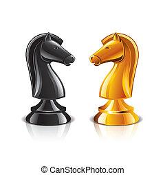 chevalier, vecteur, échecs, illustration
