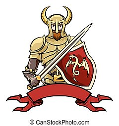 chevalier, vecteur, dessin animé
