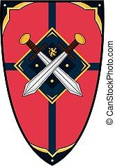 chevaliers, épée moyen age, bouclier
