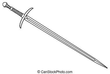 chevaliers, contour, épée