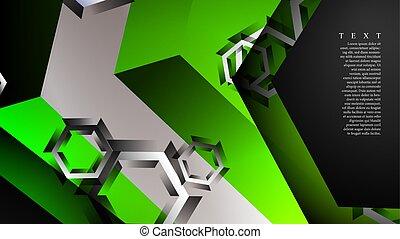 chevaucher, vert, pattern., n'importe quel, résumé, vecteur, couleur d'arrière-plan, hexagone, illustration, arrière-plan.
