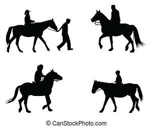 chevaux, équitation, silhouettes