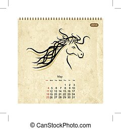 chevaux, art, may., conception, calendrier, ton, 2014