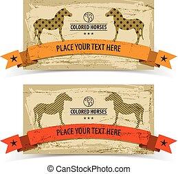 chevaux, bannières, ensemble