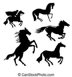 chevaux, blanc, ensemble, fond, vecteur