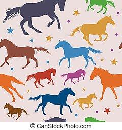 chevaux, coloré, modèle, seamless, gris, courant, fond