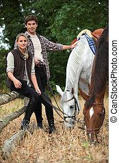 chevaux, couple, jeune, dehors