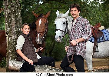 chevaux, couple, jeune, deux
