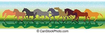 chevaux, courant, vecteur, fond, galop