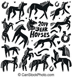 chevaux, doodles, ensemble, -