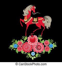 chevaux, fée, fleurs
