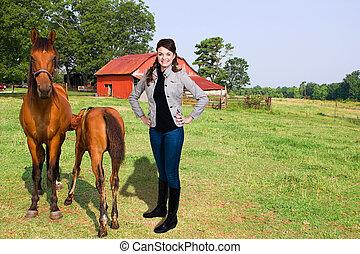 chevaux, femme