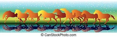 chevaux, galop, eau, courant, vecteur, fond, orange