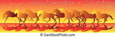 chevaux, galop, jaune, courant, vecteur, fond, rouges