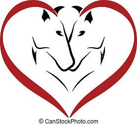 chevaux, logo, vecteur, amour
