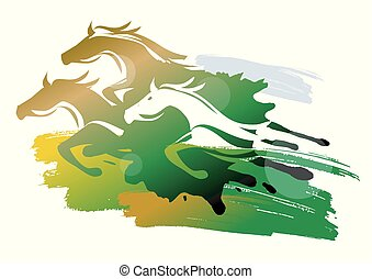 chevaux, meadow., courant, sauvage