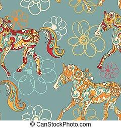 chevaux, modèle, seamless, stylisé, courant, fleurs