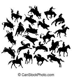 chevaux, rodéo, silhouettes