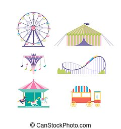 chevaux, roue, set., parc, caboteur, ferris, vecteur, amusement, carrousel, pop-corn, rouleau, carrousel