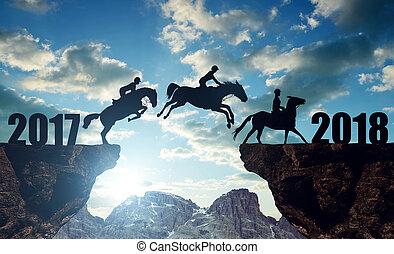 chevaux, sauter, 2018, année, nouveau, cavaliers