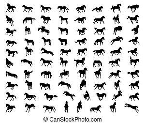 chevaux, silhouettes, noir