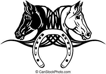 chevaux, têtes, chaussure, noir, blanc