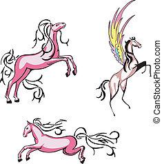 chevaux, vecteur, ensemble