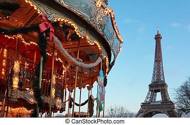 chevaux, vendange, eiffel, paris, france, carrousel, tour blanche