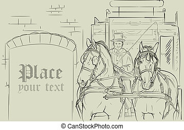 chevaux, voiture, vecteur