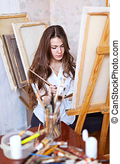 chevelu, artiste, peintures, sur, toile