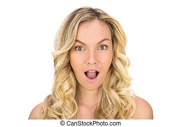 chevelure, blond, poser, surpris, bouclé