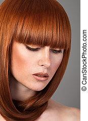 chevelure, femme, closeup, rouges, portrait
