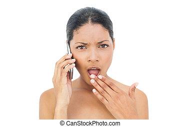 chevelure, modèle, noir, choqué, téléphone