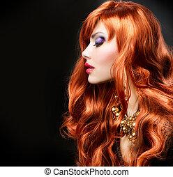 chevelure, sur, noir, portrait, girl, rouges